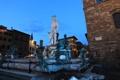 Картинка небо, дома, вечер, Италия, Флоренция, фонтан Нептун, площадь Синьории