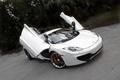 Картинка белый, асфальт, трещины, McLaren, white, вид сверху, MP4-12C