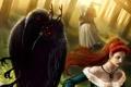 Картинка лес, девушка, птицы, конь, мутация, арт, всадник