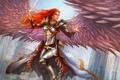 Картинка девушка, меч, арт, в небе, ангел. крылья