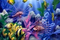 Картинка colorful, painting, fish, corals, underwater world, David Miller, Lions of the Sea