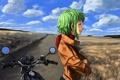 Картинка поле, девушка, облака, арт, мотоцикл, профиль, vocaloid