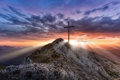 Картинка закат, горы, природа, высота, крест, долина, панорама