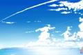 Картинка небо, облака, пейзаж, природа, велосипед, девушки, океан