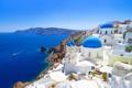 Картинка море, небо, остров, дома, Санторини, Греция, купол