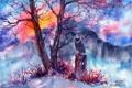 Картинка трава, горы, дерево, сова, нарисованный пейзаж