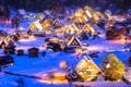 Картинка зима, снег, ночь, огни, дома, Япония, долина