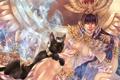 Картинка кот, клеопатра, девушка, дым