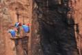 Картинка попугай, скалы, природа, птица, полет, ара