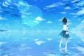 Картинка небо, письмо, вода, девушка, облака, отражение, аниме
