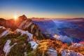 Картинка солнце, свет, пейзаж, горы, природа, рассвет, вид