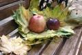 Картинка осень, листья, яблоки, еда