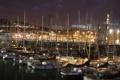 Картинка причал, город, ночь, лодки, огни