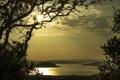 Картинка небо, деревья, горы, озеро, силуэт