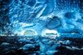 Картинка лед, снег, камни, пещера, свод