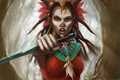 Картинка девушка, арт, раскраска, кинжалы, Diablo III, шаман, Witch Doctor
