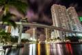 Картинка мост, огни, отражение, пальма, дома, вечер, сша
