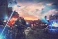 Картинка город, оружие, люди, арт, руины, битва, пришельцы