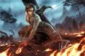 Картинка огонь, пламя, укрытие, лук, арт, стрела, Lara Croft