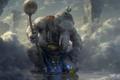 Картинка облака, скалы, человек, слон, бог, арт, гигант