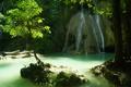 Картинка водопад, вода, камни, дерево