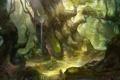 Картинка лес, вода, человек, фонари, art, солнечный свет, rong rong