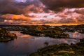 Картинка закат, облака, селение, небо, холмы, мост, река