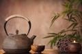 Картинка чашка, листики, лотос, чайник, блюдце
