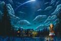 Картинка кот, звезды, облака, снег, ночь, огни, дом