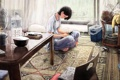 Картинка девушка, комната, аниме, телефон, общение