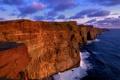 Картинка море, облака, прибой, утес, Ирландия