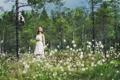Картинка лес, девушка, настроение
