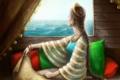 Картинка море, девушка, украшения, комната, карта, подушки, окно