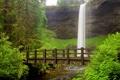 Картинка природа, пейзаж, река, мост, водопад
