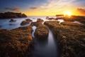 Картинка море, солнце, скалы, вечер, sunshine, sea, rocks