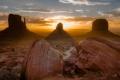 Картинка долина монументов, закат, пустыня, природа, горы, великий каньон