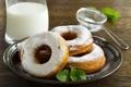 Картинка сладость, выпечка, сахарная пудра, пончики с ванильным кремом
