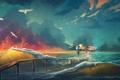 Картинка облака, небо, девушка, волны, птицы, море, art