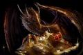 Картинка золото, дракон, меч, сундук, сокровища, dragon