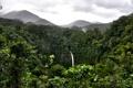 Картинка лес, облака, горы, водопад, джунгли