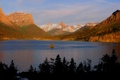 Картинка США, лес, осень, небо, озеро, Монтана, остров