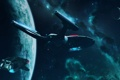 Картинка космос, enterprise, шаттл, runabout, планеты, star trek