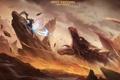 Картинка скалы, магия, дракон, арт, битва, парень, pixiv fantasia