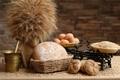 Картинка зерно, яйца, хлеб, весы, мука, булочки, ступка