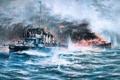 Картинка море, волны, небо, пламя, дым, рисунок, бой