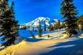 Картинка зима, небо, снег, деревья, закат, горы, ель
