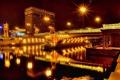 Картинка ночь, мост, огни, отражение, река, Город