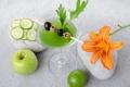 Картинка зелень, цветок, лилия, огурец, коктейль, лайм