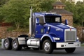 Картинка kenworth, синий, тягач, передок, трак, деревья, truck