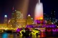 Картинка ночь, город, огни, Чикаго, фонтан, США, Иллиноис